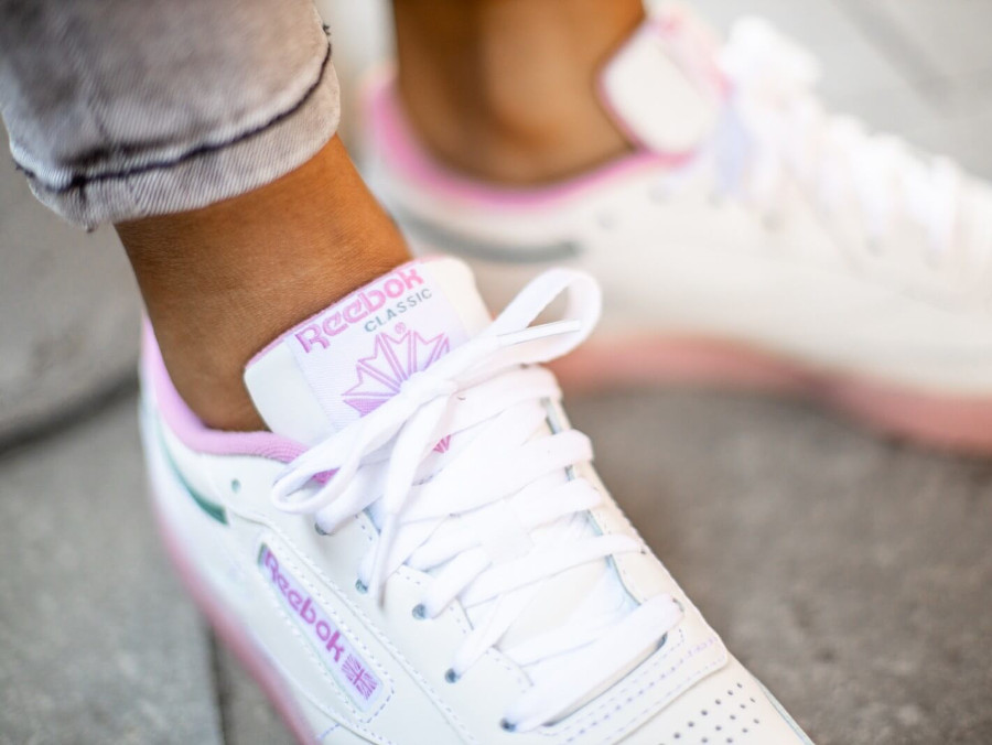 Women's Reebok Club C 85 'White Green Slate Jasmine Pink' (4)