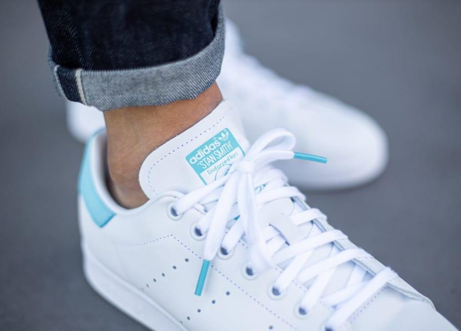 Adidas Stan Smith 2020 blanche et bleu ciel (2)