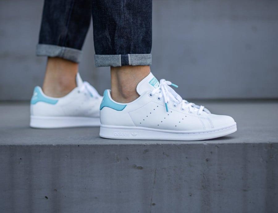 Adidas Stan Smith 2020 blanche et bleu ciel (4)