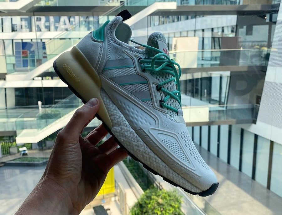 Adidas ZX 2K Boost Crystal White Grey One Hi Res Green