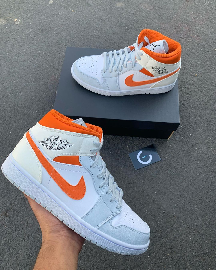 Air Jordan 1 Mid SE Pure Platinum Starfish Orange (1)