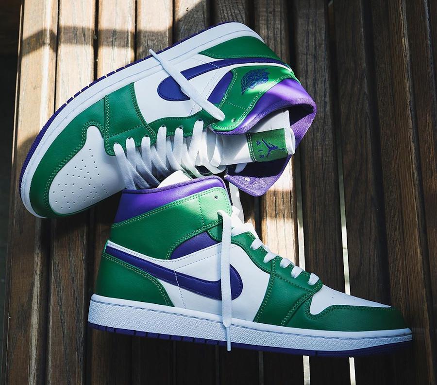 Air Jordan 1 mi-montante blanche violet et vert (3)