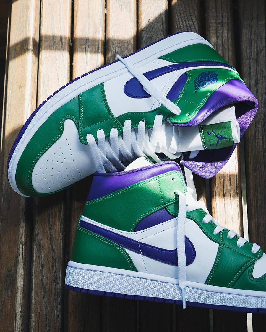 Air Jordan 1 mi-montante blanche violet et vert (4)