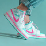 Air Jordan 1 Mid GS 'Digital Pink Aurora Green Soar'