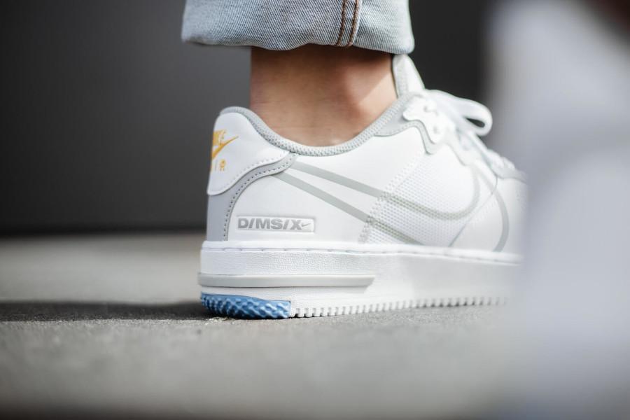 Nike Air Force 1 React DMSX blanche grise et jaune doré (2)