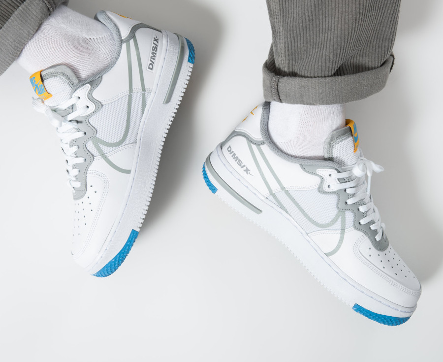 Nike-Air-Force-1-React-DMSX-blanche-grise-et-jaune-doré-5