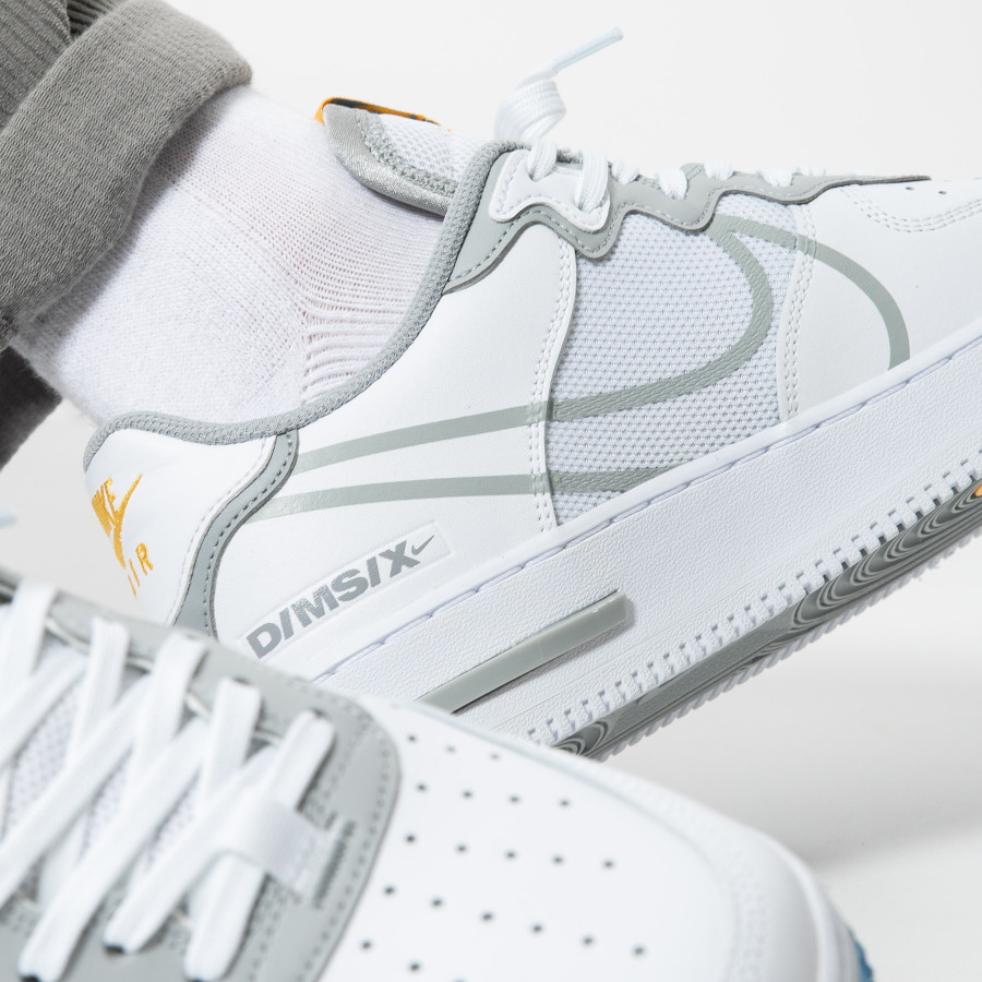 Nike-Air-Force-1-React-DMSX-blanche-grise-et-jaune-doré-6