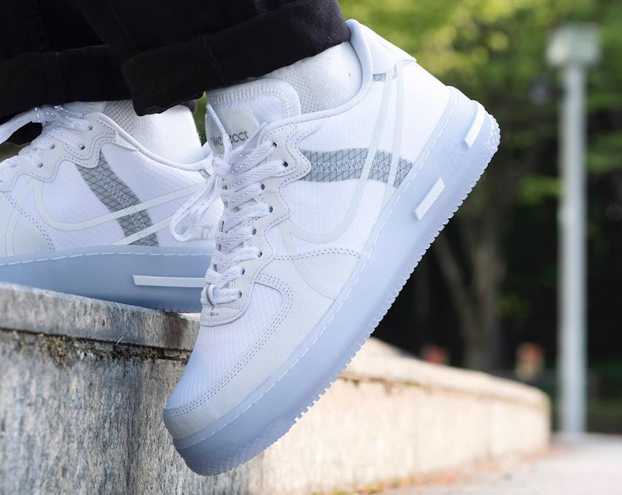 Nike Air Force 1 React QS DMSX White Ice on feet (3)