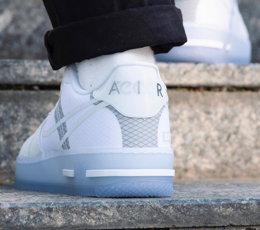 Nike Air Force 1 React QS DMSX White Ice on feet (4)