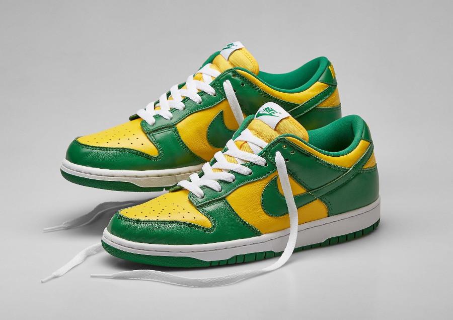Nike Dunk Low en cuir vert et jaune (1-2)
