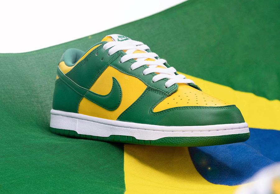Nike Dunk Low en cuir vert et jaune (1)