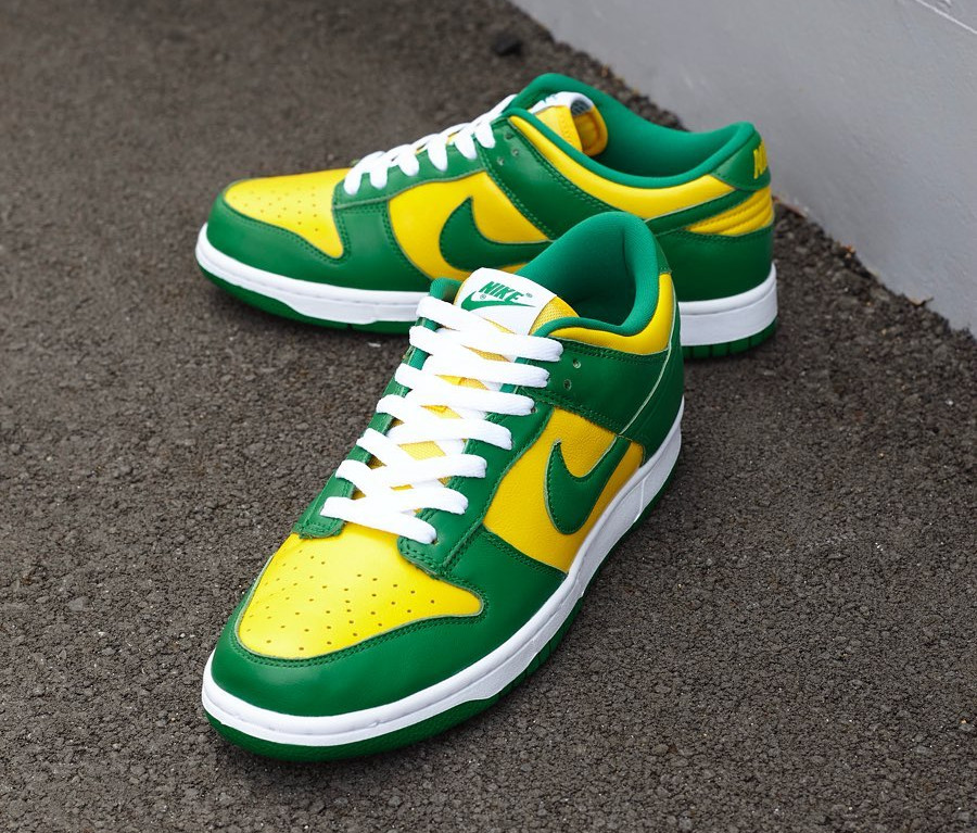 Nike Dunk Low en cuir vert et jaune (2)