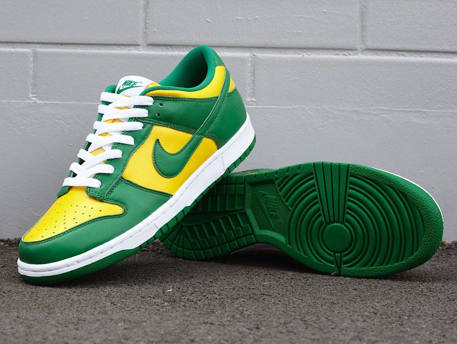 Nike Dunk Low en cuir vert et jaune (3)