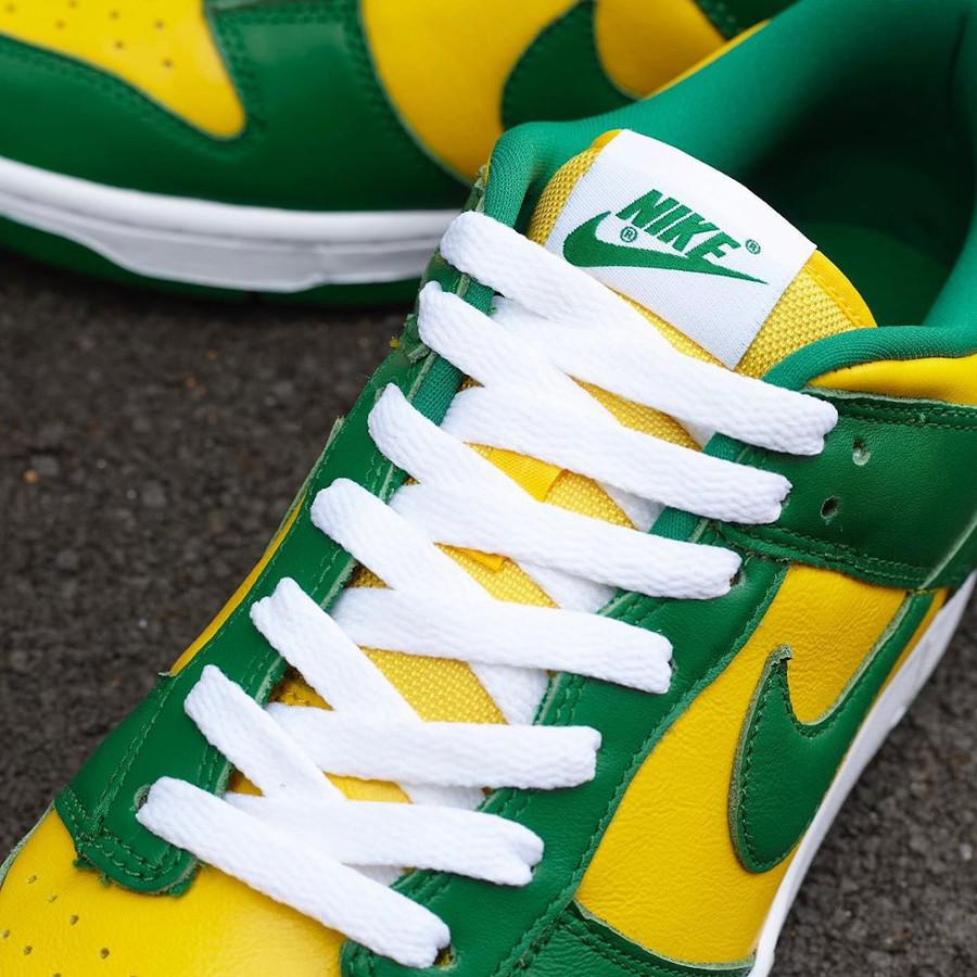 Nike Dunk Low en cuir vert et jaune (4)