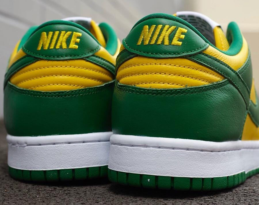 Nike Dunk Low en cuir vert et jaune (6)