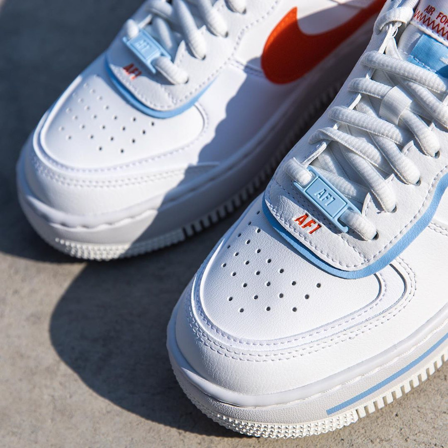 Nike Wmns AF1 Shadow SE Summit White Team Orange Psychic Blue (3)