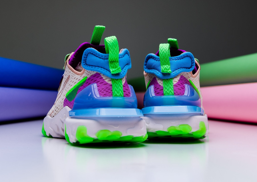 Nike Wmns React Vision beige violet vert fluo (2)