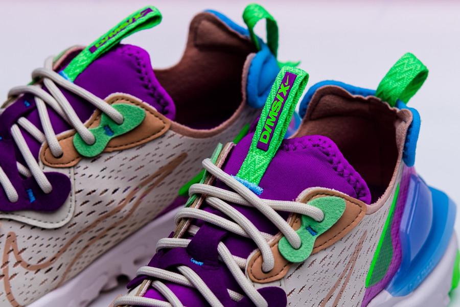 Nike Wmns React Vision beige violet vert fluo (5)
