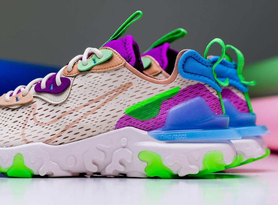 Nike Wmns React Vision beige violet vert fluo (6)