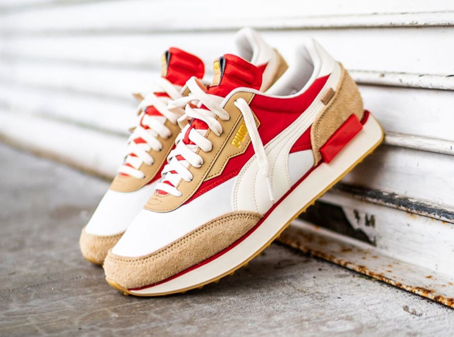 Puma Future Rider Game On beige rouge et or métallique (1)