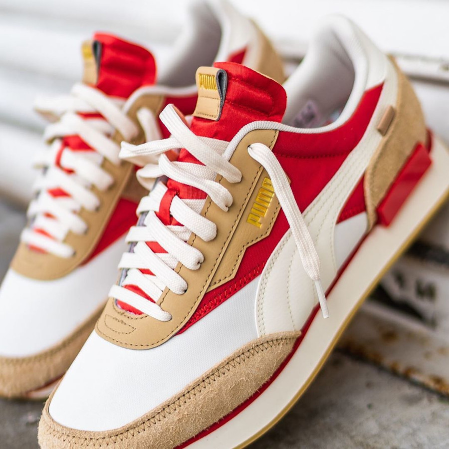 Puma Future Rider Game On beige rouge et or métallique (2)