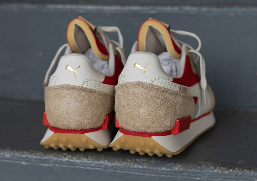 Puma Future Rider Game On beige rouge et or métallique (3)