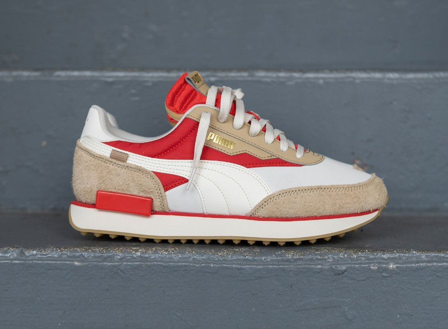 Puma Future Rider Game On beige rouge et or métallique (4)