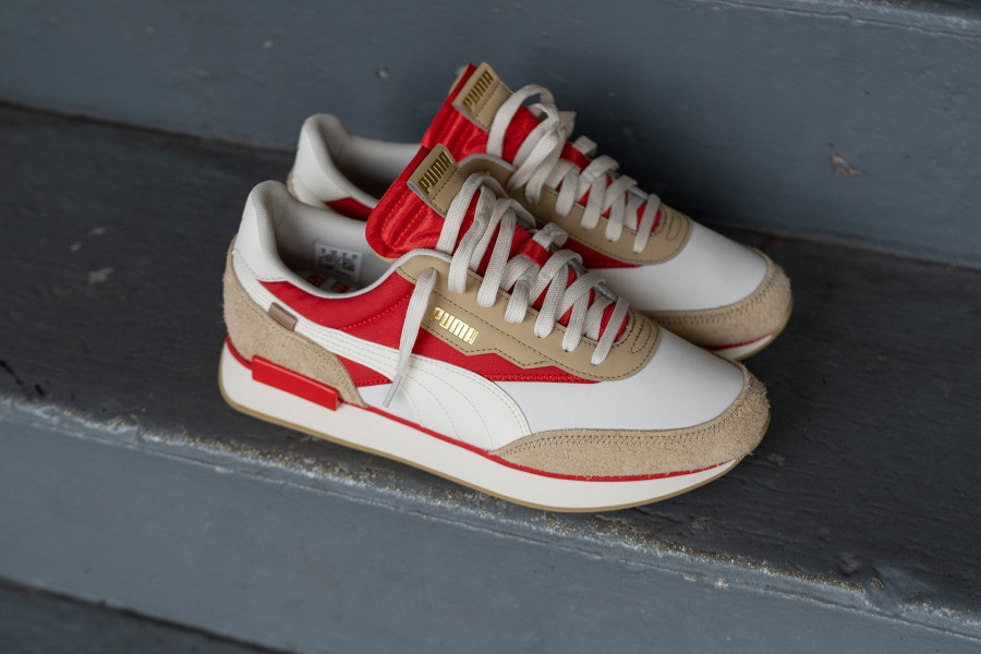 Puma Future Rider Game On beige rouge et or métallique (5)