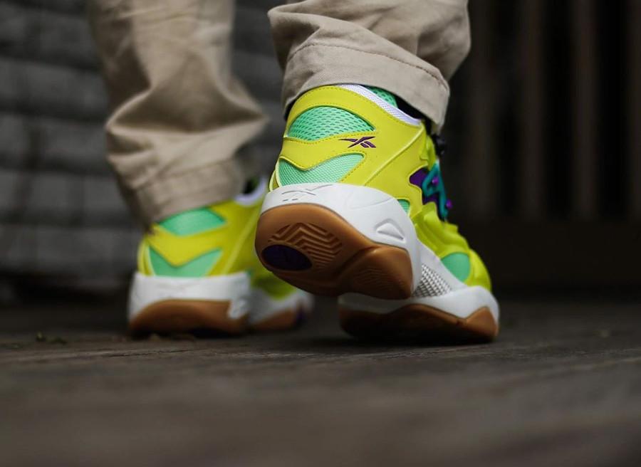 Reebok Pump Court Hero Yellow Seafoam Green Chalk on feet (1)
