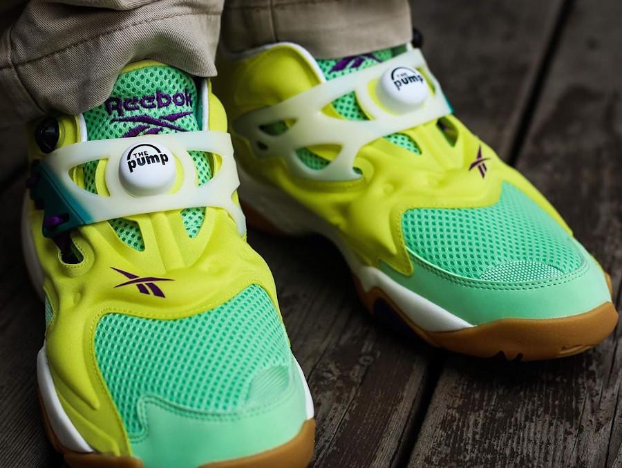 Reebok Pump Court Hero Yellow Seafoam Green Chalk on feet (3)