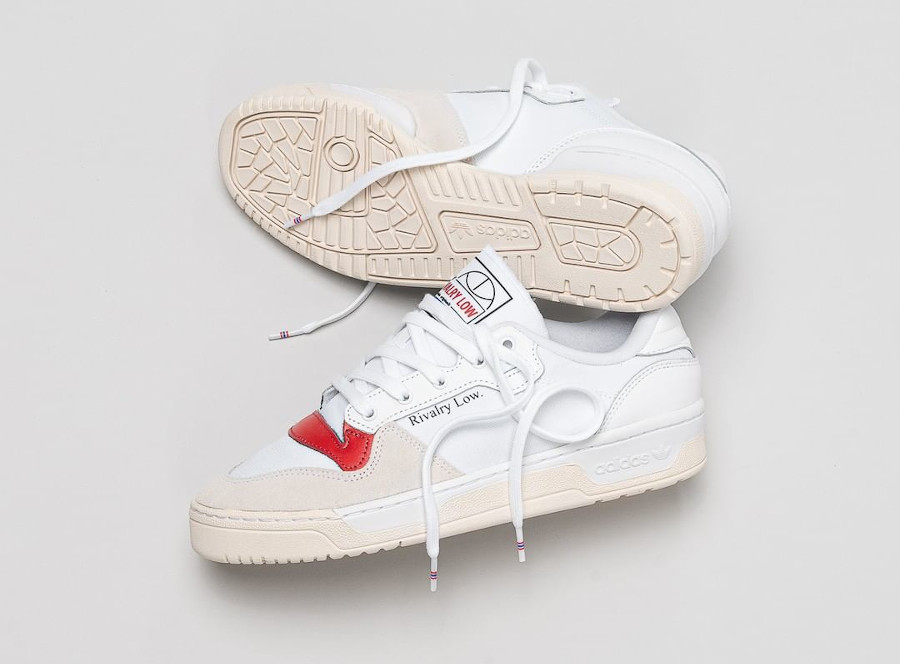 Adidas Rivalry Low Canvas Hoops White Red EF6418