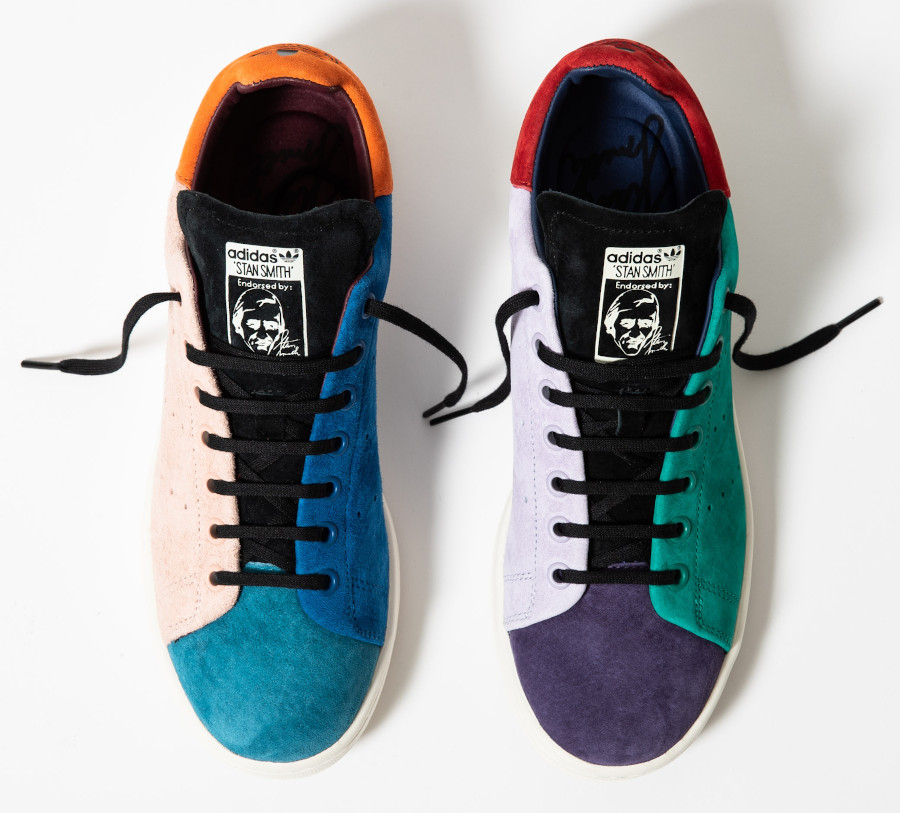 Adidas-Stan-Smith-en-daim-multicolore-beige-violet-vert-orange-bleu-1