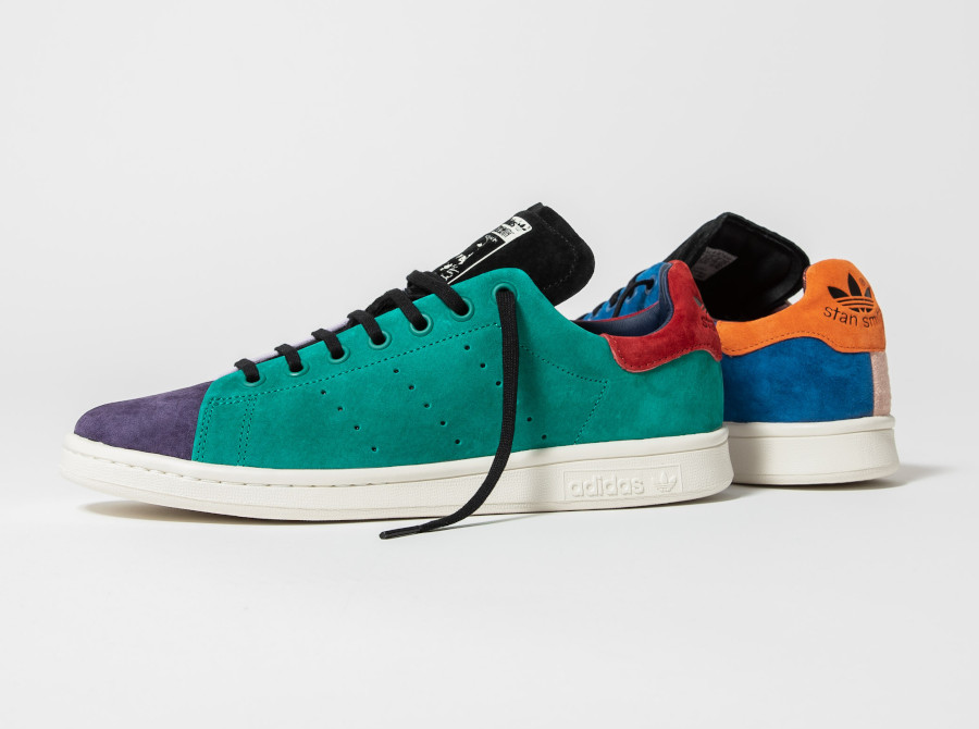 Adidas-Stan-Smith-en-daim-multicolore-beige-violet-vert-orange-bleu-2