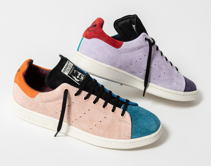 Adidas-Stan-Smith-en-daim-multicolore-beige-violet-vert-orange-bleu-3