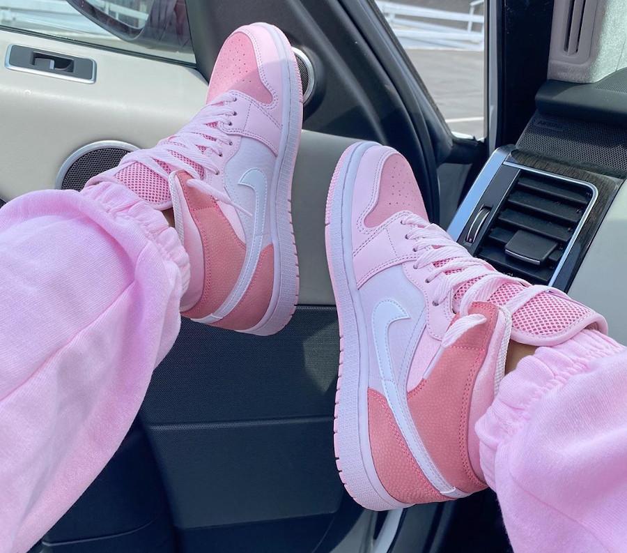 Air Jordan 1 mi-montante rose 2020 pour femme (6)