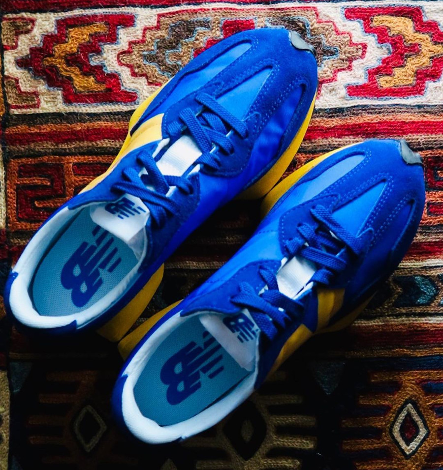 New Balance 327 bleue et jaune pour homme (3)