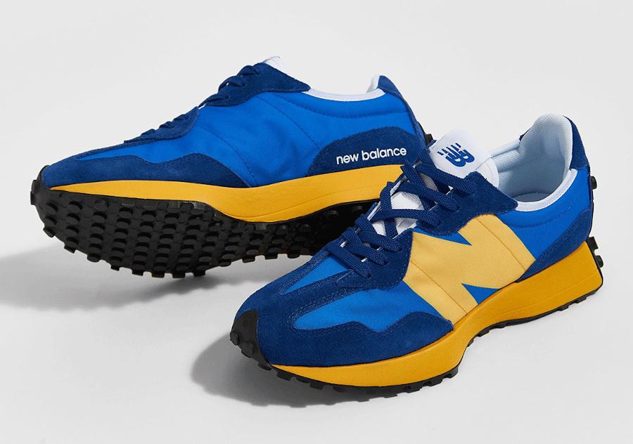 New Balance 327 bleue et jaune pour homme (6)