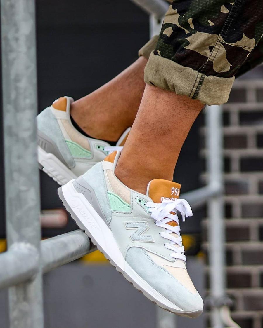 New Balance 998 2020 blanche vert menthe et en canvas beige (4)
