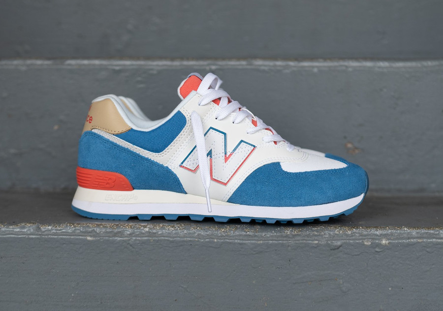 New Balance ML 574 homme 2020 blanche bleu et rouge (2)