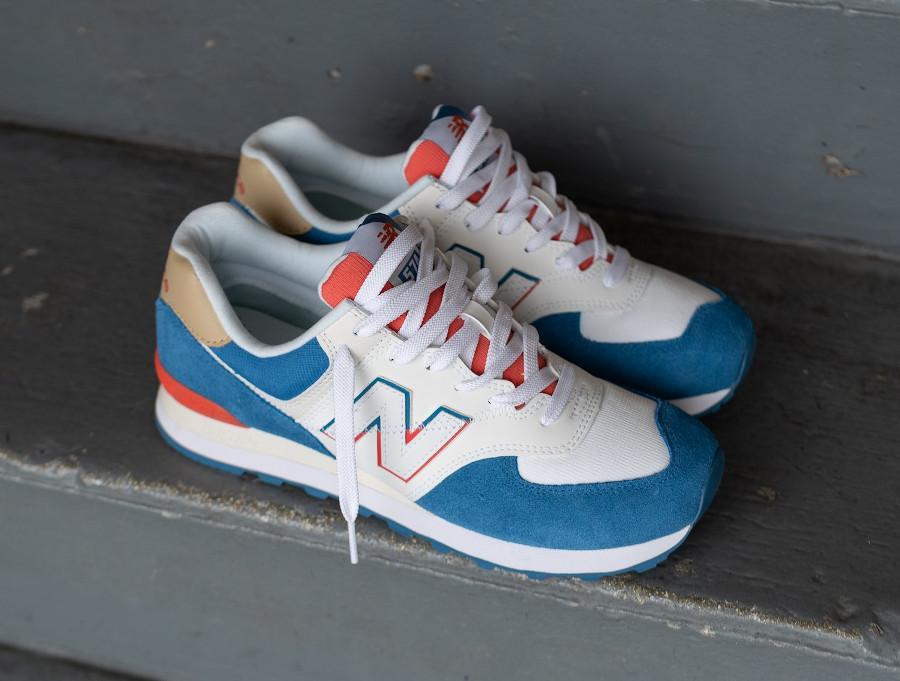 New Balance ML 574 homme 2020 blanche bleu et rouge (3)