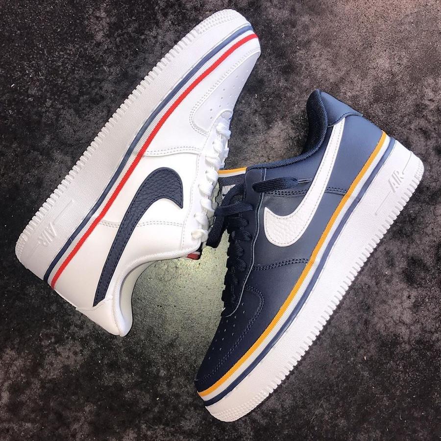 Nike Air Force 1 blanche avec un ruban tricolore (4)