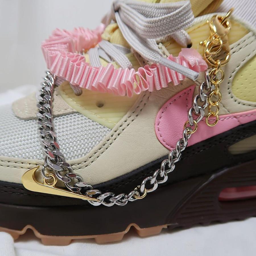 Nike Air Max 90 2020 marron beige et rose pour femme (3)