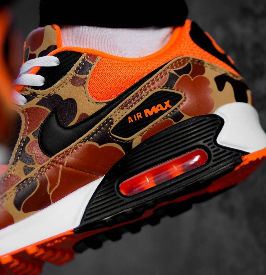 Nike Air Max 90 Premium Orange Duck Camo on feet (4)