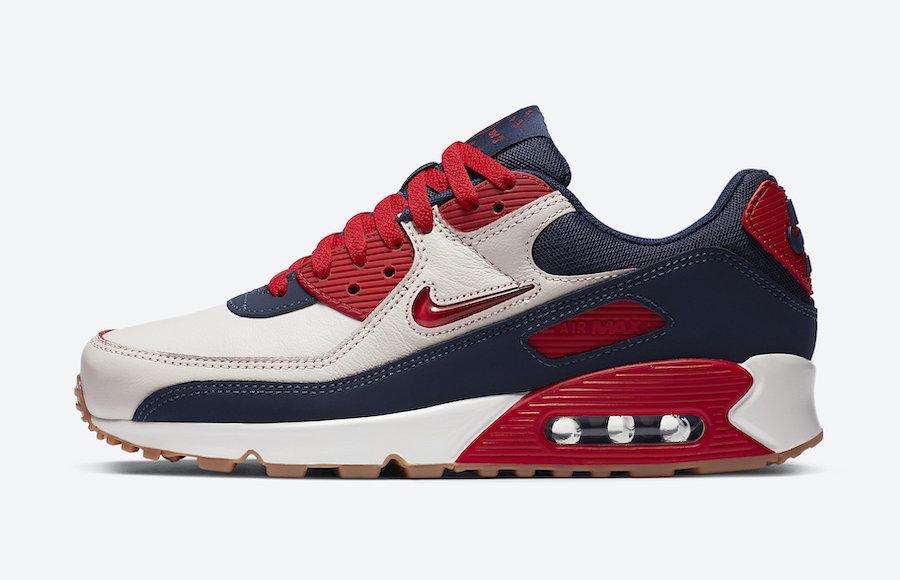 Nike Air Max 90 Premium blanc cassé rouge et bleu marine CJ0611-101 (1)