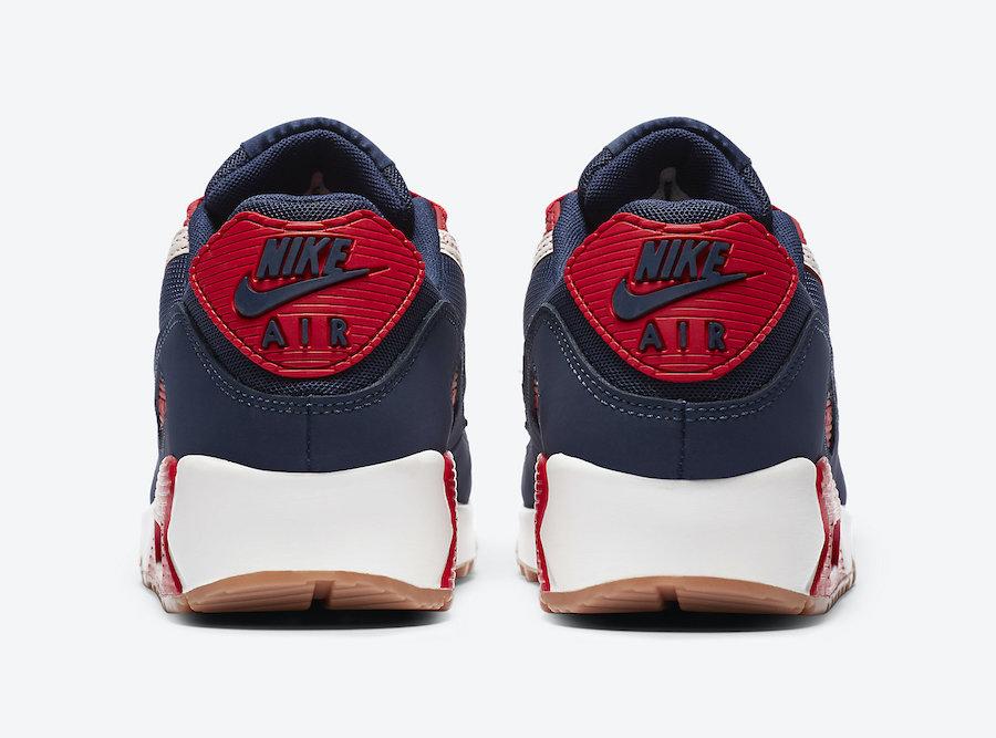 Nike Air Max 90 Premium blanc cassé rouge et bleu marine CJ0611-101 (4)