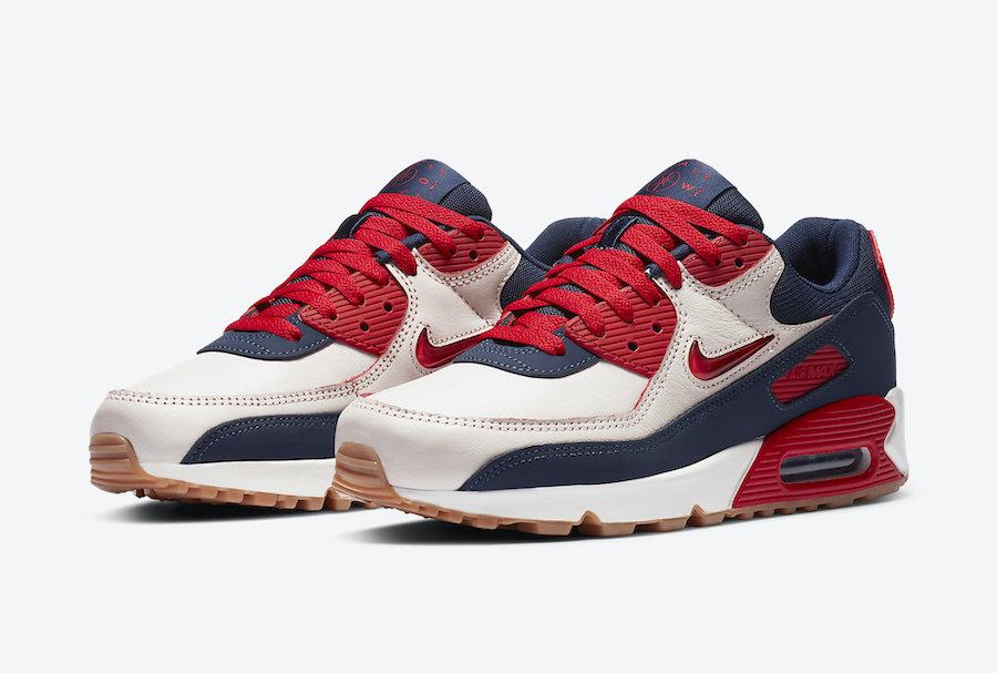 Nike Air Max 90 Premium blanc cassé rouge et bleu marine CJ0611-101