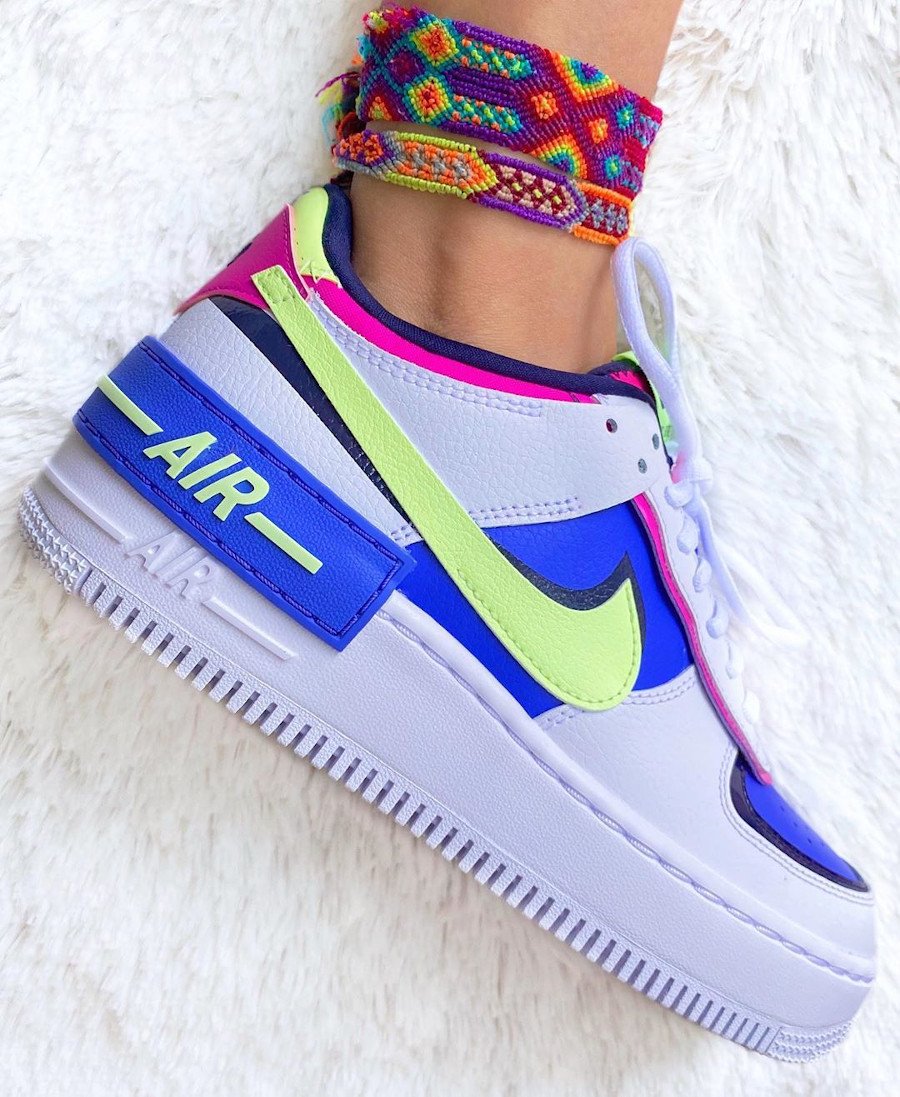 Nike Wmns AF1 Shadow Sapphire White Barely Volt Fire Pink on feet