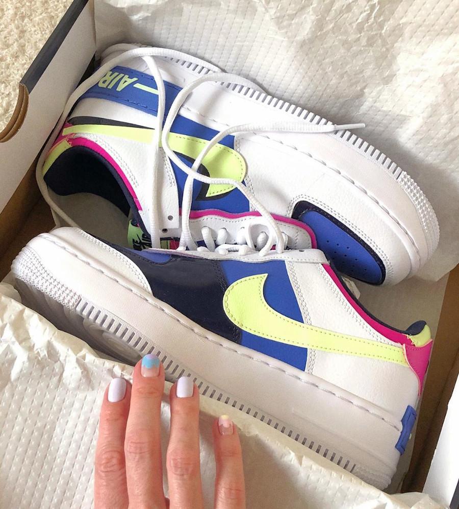 Nike Wmns Af1 Shadow blanche violet vert fluo et rose (1)