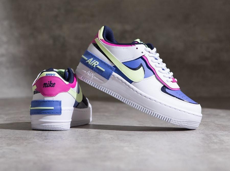 Nike Wmns Af1 Shadow blanche violet vert fluo et rose (2)