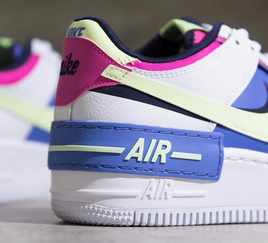 Nike Wmns Af1 Shadow blanche violet vert fluo et rose (4)